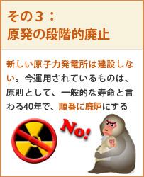 新規の原子力発電所は造らず、既存の原子力発電所は段階的に廃止する