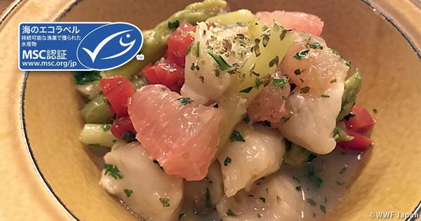レストランの美味しい食事で、海洋保全!